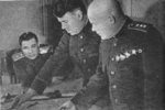 Soviet General Aleksandr Vasilevsky and Filipp Golikov studying a map, 1943
