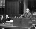 Edmund Veesenmayer making his final statement during the Nuremberg Trials in Germany, 1949