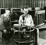 Wainwright announcing the surrender of American forces in the Philippine Islands, under supervision of a Japanese censor, Manila, Philippine Islands, 7 May 1942