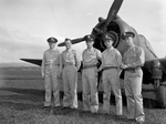 USAAF fighter pilots with at least one kill during Pearl Harbor attack posing before P-36 Hawk fighter: Lt Lewis Sanders, 2LT Phillip Rasmussen, 2LT Kenneth Taylor, 2LT George Welch, 2LT Harry Brown