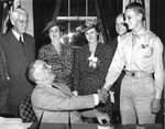 George Welch and his parents meeting Franklin D. Roosevelt at the White House, Washington DC, United States, 25 May 1942