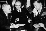 US President Harry Truman, Secretary of State James Byrnes, and newly-appointed Ambassador Walter Smith discussing Smith