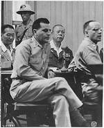 Yamashita at Manila war crime trial with his attorneys Sandberg and Reel, 1945