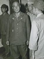 Yamashita during post-war trials, probably in a hallway outside the courtroom, circa Oct 1945