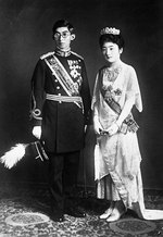 Wedding photograph of Prince Yasuhito and Princess Setsuko, 28 Sep 1928, photo 1 of 2