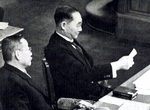 Japanese Prime Minister Mitsumasa Yonai reading a memo in the prime minister