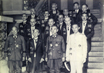Prime Minister Kuniaki Koiso with his cabinet ministers, 22 Jul 1944; note Naval Minister Mitsumasa Yonai in front row next to Koiso