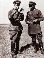 Georgy Zhukov and Choibalsan during the Battle of Khalkhin Gol, Mongolia Area, China, 1939, photo 1 of 2