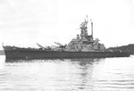 US battleship Alabama anchored in Puget Sound, Washington, United States, 15 Mar 1945, photo 1 of 5; port broadside view, note independently-elevated guns