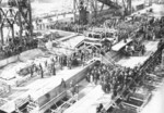 Keel laying of battleship Alabama, Norfolk Naval Shipyard, Portsmouth, Virginia, United States, 1 Feb 1940