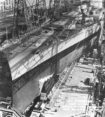 Battleship Alabama being prepared for launching, Norfolk Naval Shipyard, Portsmouth, Virginia, United States, 15 Feb 1942