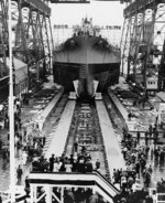 Launching of battleship Alabama, Norfolk Naval Shipyard, Portsmouth, Virginia, United States, 16 Feb 1942