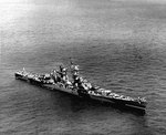 Large cruiser Alaska, photographed from the air, 8 Aug 1944