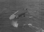 TBF-1C aircraft having just been jettisoned from USS Coral Sea near Kwajalein, Marshall Islands, 7 Feb 1944