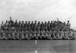 Group portrait of the personel of US Navy squadron VC-33 aboard USS Coral Sea, 8 Jun 1944