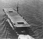Stern view of USS Coral Sea, Sep 1943