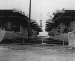 USS Natoma Bay and USS Anzio at Norfolk Navy Yard, Portsmouth, Virginia, United States, 29 Aug 1947
