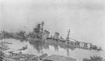 Cruiser Aoba sunken in shallow water, Kure, Japan, 28 Nov 1946