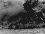 USS Arizona burning at Pearl Harbor, 7 Dec 1941, photo 2 of 5