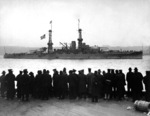 USS Arizona passing 96th Street Pier during a naval review in New York City, New York, United States, 26 Dec 1918