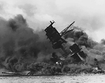 USS Arizona burning at Pearl Harbor, 7 Dec 1941, photo 3 of 5