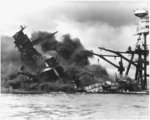 USS Arizona burning at Pearl Harbor, 7 Dec 1941, photo 5 of 5