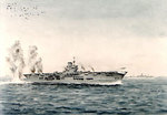 Watercolor by Edward Tufnell depicting Ark Royal under German bomber attack, 1941