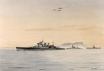 Watercolor by Edward Tufnell depicting Renown, Malaya, and Ark Royal, 1941