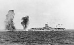 Bombs falling astern of Ark Royal during Battle of Cape Spartivento, 27 Nov 1940