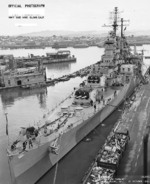 USS Astoria at Mare Island naval Shipyard, California, United States, 21 Oct 1944; photo 1 of 4