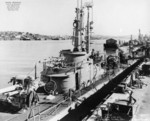 USS Besugo at Mare Island Naval Shipyard, Vallejo, California, United States, 29 Jan 1946; note USS Spadefish and USS Barbero in background