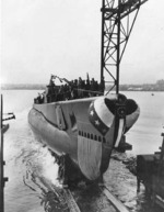 Launching of submarine Baya, Groton, Connecticut, United States, 2 Jan 1944
