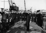 Commander Mason and other officers at the commissioning ceremony of USS Baya, Mare Island Naval Shipyard, California, United States, 10 Feb 1948