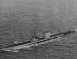 USS Baya off San Francisco, California, United States, 8 May 1956; note additional equipment behind the conning tower