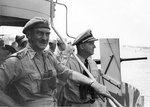 British Army General J. L. Hawksworth and US Navy Rear Admiral Richard L. Connolly aboard Biscayne, 6 Sep 1943, while preparing for Salerno, Italy landings