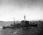 Biscayne participating in amphibious exercises off Arzew, Algeria as flagship of US Navy Rear Admiral B. J. Rodgers, 10-11 Jun 1944