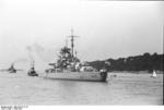 A tugboat guiding Bismarck at Brunsbüttel, Schleswig-Holstein, Germany, 15 Sep 1940, photo 3 of 7