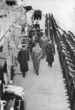 Adolf Hitler inspecting battleship Bismarck with Admiral Lutjens and Captain Lindemann, Gotenhafen, Germany (now Gdynia, Poland), 5 May 1941, photo 1 of 3