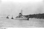 A tugboat guiding Bismarck at Brunsbüttel, Schleswig-Holstein, Germany, 15 Sep 1940, photo 2 of 7