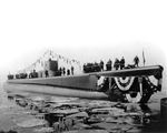 Submarine Bluefish shortly after launching, Groton, Connecticut, United States, 21 Feb 1943