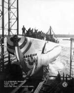 Launching ceremony of submarine Bugara, Groton, Connecticut, United States, 2 Jul 1944