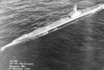 USS Bugara underway during torpedo exercise off Panama Bay south of Panama, Jan 1945