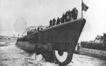 Launching of submarine Cabrilla, Portsmouth Navy Yard, Kittery, Maine, United States, 24 Dec 1942
