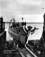 Launching of submarine Caiman, Electric Boat Company, Groton, Connecticut, United States, 30 Mar 1944