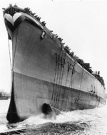 Launching of Canberra, Bethlehem Steel Company Fore River Shipyard, Quincy, Massachusetts, United States, 19 Apr 1943
