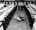 Decommissioning ceremony of USS Capitaine, Mare Island Navy Yard, Vallejo, California, United States, 10 Feb 1950
