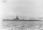 Port view of USS Capitaine off Mare Island Navy Yard, Vallejo, California, United States, 17 Dec 1946