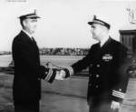 Lieutenant Commander J. O. House, Jr. relieving Commander W. P. Murphy as the commanding officer of USS Carbonero, Mare Island Naval Shipyard, California, United States, 30 Sep 1953