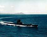 USS Carbonero underway off Hawaii, United States, date unknown; note Diamond Head in background