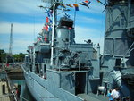 View of port side amidships of museum ship USS Cassin Young, Boston, Massachusetts, United States, 4 Jul 2010; note quadruple 40mm Bofors anti-aircraft gun mount